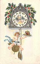 Buy A Happy New Year Baby Swinging on a Clock Holding Fruit Cake Vintage Postcard