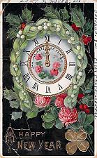 Buy A Happy New Year Clock at Midnight, Photo Glossy Embossed Vintage Postcard