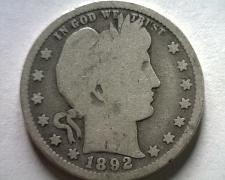 Buy 1892 BARBER QUARTER DOLLAR GOOD G NICE ORIGINAL COIN FROM BOBS COINS FAST SHIP