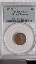 Buy 1922 (NO D). STRONG REVERSE LINCOLN PENNY. KEY DATE. PCGS GRADED VF-25.