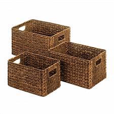 Buy *18777U - Brown Wicker Nesting Baskets 3pc Set