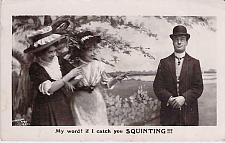 Buy If I Catch You Squinting British Humor Vintage Romance Postcard