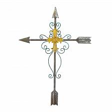 Buy *17971U - Crossed Arrows Metal Sculpture Cross Wall Plaque