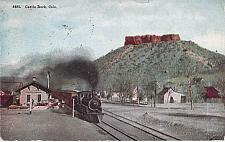 Buy Train Steam Engine Departing Station at Castle Rock, Colo Vintage Postcard