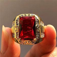 Buy Elvis Presley TCB NY GP Concert Jumpsuit Stage Men Ring Red Ruby Simulat Wedding