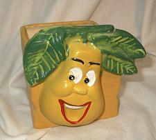 Buy Vintage Anthropomorphic Yellow Happy Face Pear Fruit Planter Holder g125i