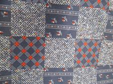 Buy Vintage Double Knit Polyester Fabric BLUE RED GRAY PATCHWORK 2 yrd 60 wide