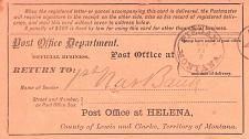 Buy RARE Piegan, Montana Territory, 1883 Postmark on PO Department Registration Card
