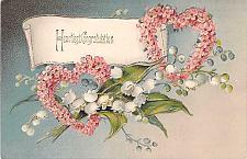 Buy Heartiest Congratulation Engagement Flower Hearts Embossed Vintage Postcard