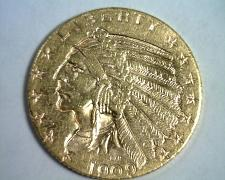 Buy 1909-D FIVE DOLLAR INDIAN HEAD GOLD CHOICE ABOUT UNCIRCULATED++ CH AU++ ORIGINAL