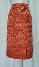 "Buy Red Gold Lao Laos Synthetic Silk Sinh Skirt for sale Waist 30"" SK14"
