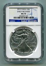 Buy 2012 AMERICAN SILVER EAGLE NGC MS70 EARLY RELEASE BLUE PREMIUM QUALITY PQ