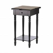 Buy *17271U - Hampton Black Wood Accent Side Table 1 Drawer 1 Shelf