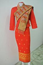 Buy Red Lao Laos 3/4 Sleeve Silk Blouse size 2 Sinh Skirt Pha Bieng Beads Clothing