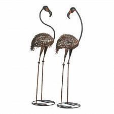 Buy *17004U - Wild Flamingo Brown Black Garden Stake Yard Art Iron Statue Duo