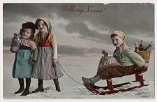Buy Merry Christmas, Children on Sled with Wine, Color Vintage Photo Postcard