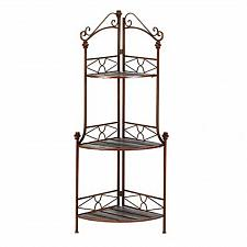 Buy 12517U - Rustic Corner Baker's Rack Metal Scrollwork Frame 3 Wood Shelves