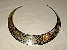 Buy Choker Necklace Collar Brass Silver Floral Etched New j57