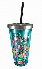 Buy :10733U - Live Laugh Love Turquoise Stainless Steel Travel Cup Double Wall
