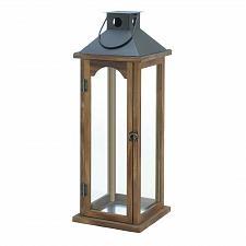 """Buy *18495U - Large 22"""" Simple Metal Top Wooden Pillar Candle Lantern"""