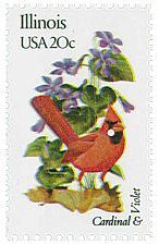 Buy 1982 20c State Birds & Flowers, Illinois Cardinal & Violet Scott 1965 Mint VF NH