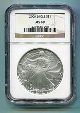 Buy 2006 AMERICAN SILVER EAGLE NGC MS 69 BROWN LABEL PREMIUM QUALITY MS69 PQ