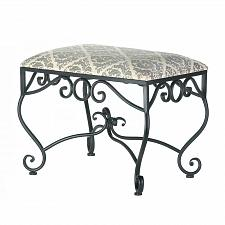 Buy *17111U - Marvelous Diamond Leaf Print Black Metal Manor Stool