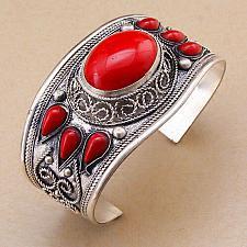 Buy BOHO VINTAGE ETHNIC GYPSY RED CORAL CUFF BANGLE AFGHAN TIBETAN SILVER NEPALI