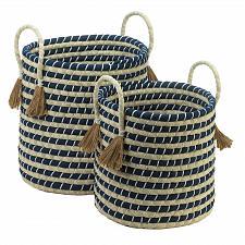 Buy *18726U - Braided Navy & Tan Baskets Accent Tassels Handles 2pc Set