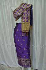 Buy Purple Lao Laos Laotian Synthetic Silk Fabric Glue for sinh Skirt Pha Bieng LPG7