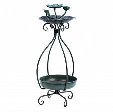 Buy *15693U - Flower Basin Green Metal Birdfeeder And Planter Stand Yard Art