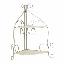 Buy *17968U - Ivory Iron Scrollwork 2 Shelf Corner Rack