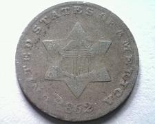 Buy 1852 THREE CENT SILVER FINE F NICE ORIGINAL COIN FROM BOBS COINS FAST SHIPMENT