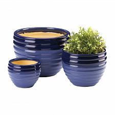 Buy *18822U - Two Tone Blue Ceramic Planter 3pc Set