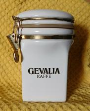 "Buy Gevalia Kaffe 7 1/2"" Coffee Storage Ceramic White W/Gold Canister Airtight Seal"