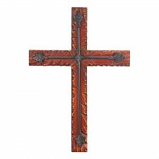 Buy *16167U - Pine Wood Iron Flourish Wall Cross Plaque