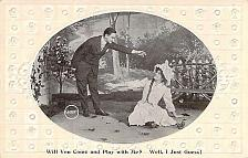 Buy Will You Come and Play With Me, Embossed Fancy Border Vintage Romance Postcard