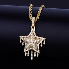 Buy Elvis Presley Drip Star Rock Concert TCB Gold Plated Chain Necklace Pendant