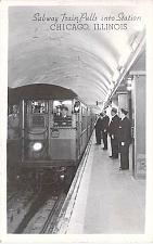 Buy Subway Train Pulls Into Station, Chicago Real Photo RPPC Vintage Postcard