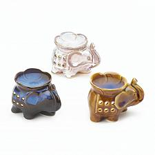 Buy *17716U - Elephant w/Flower Basin Mini Porcelain Oil Warmer 3pc Set