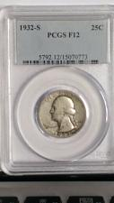 Buy 1932-S WASHINGTON QUARTER. KEY DATE. PCGS. F-12.