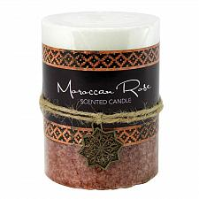 Buy :10930U - Moroccan Rose Scented Pillar Candle 3X4 Palm Wax 60 Hr Burn Time