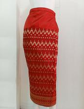 """Buy Red Thai Lao Laos Synthetic Silk Wrap Sarong Sinh Skirt Dress Waist 30"""" Size L"""