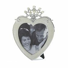 Buy *16951U - Crown On Heart Pewter & Glass Easel Back Photo Frame Holds 5x5