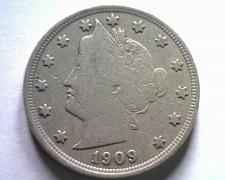 Buy 1909 LIBERTY NICKEL FINE F NICE ORIGINAL COIN FROM BOBS COINS FAST SHIPMENT