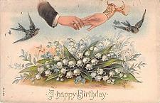 Buy A Happy Birthday, Gold Embossed, Blue Birds Hand Holding Vintage Postcard