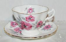 Buy Vintage Hammersley Teacup & Saucer Pink English Roses Grey Leaves, c1912-1939