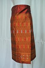 """Buy Red Gold Lao Laos Synthetic Silk Sinh Skirt for sale Waist can fit to 40"""" SK4"""
