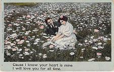 Buy Your Heart is Mine..Couple in Field of Flowers Vintage Romance Postcard