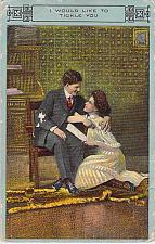 Buy I Would Love To Tickle You Couple , Vintage Romance Postcard
